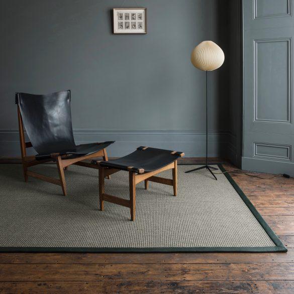 Natural Rug Company - Sisal Tric Slate Olive Leather Border
