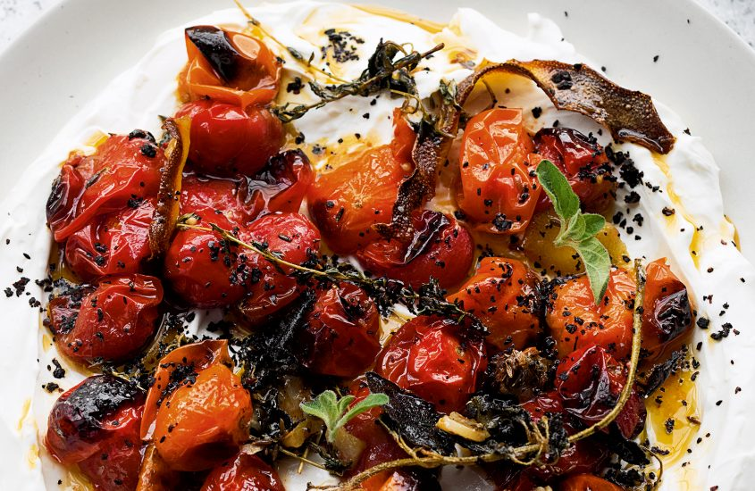 Hot Charred Cherry Tomatoes with Cold Yoghurt by Yotam Ottolenghi