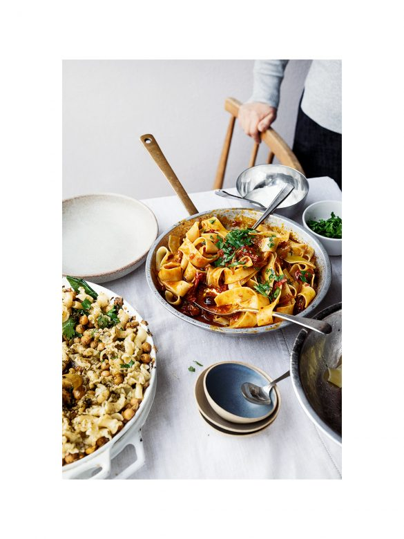 Pappardelle with rose harissa, black olives and capers by Yotam Ottolenghi