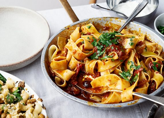 Pappardelle with Rose Harissa, Black Olives and Capers by Yotam Ottolenghi - Beautiful Heirloom Home