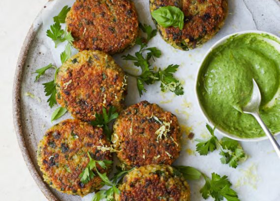 Quinoa Cakes with Chimichurri Yoghurt by Melissa Hemsley - Beautiful Heirloom Home